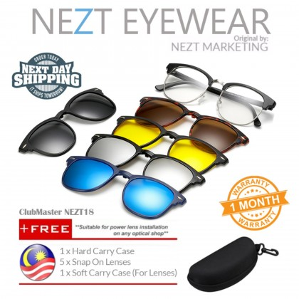 6 in 1 Clubmaster Vintage Frame Nezt18 Magnetic Snap-On Glasses