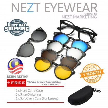 6  in 1 Retro Frame Nezt05 Magnetic Snap-On Glasses