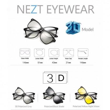 4 in 1 Nezt 3D TR-Frame Snap-on Magnetic Eyeglasses Sunglasses