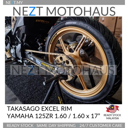 "Takasago Excel Rim Cast Edition 125ZR / Y15 / RS150 1.60 / 1.60 x 17"" Super Black / Supreme Gold"