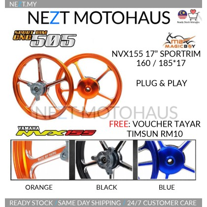 "Yamaha NVX155 NVX Magicboy 17"" Sport Rim CNC FG505 Design 160/185x17"